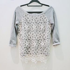 Gray Sweater with Floral Lace Overlay In Front